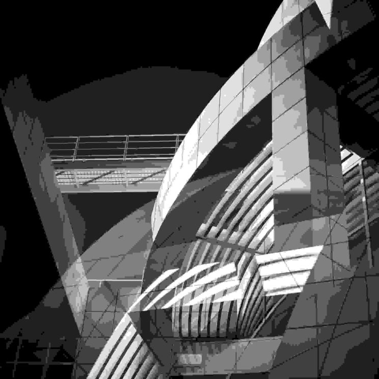 Building arches, grayscale picture